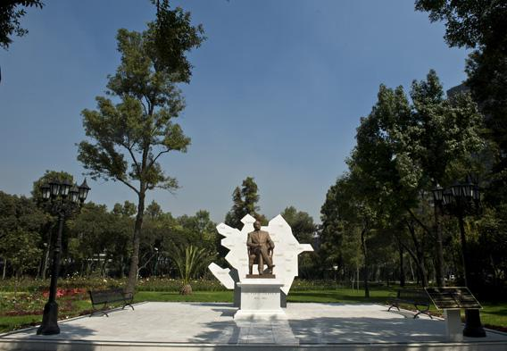 Sculpture of former president of Azerbaijan Heydar Aliyev, pictured on October 22, 2012, at Reforma avenue, in Mexico City.