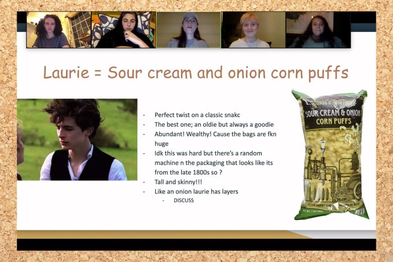 "A powerpoint slide that said ""Laurie = sour cream and onion piffs"""