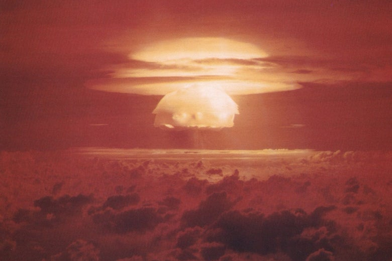 The mushroom cloud from the Castle Bravo nuclear test.