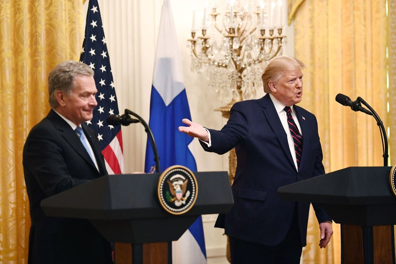 Finnish President Sauli Niinistö and U.S. President Donald Trump at the White House in Washington on Wednesday.