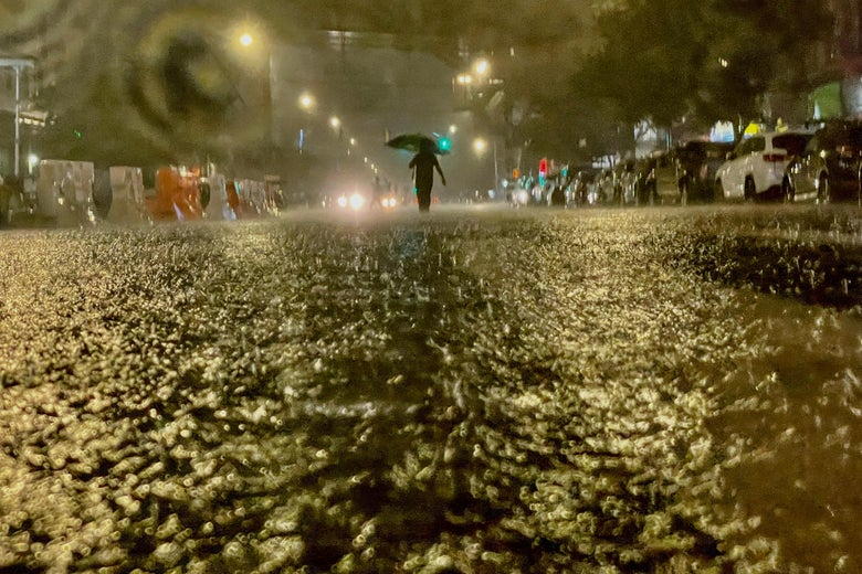 A person walks with an umbrella in the rain in a flooded street.