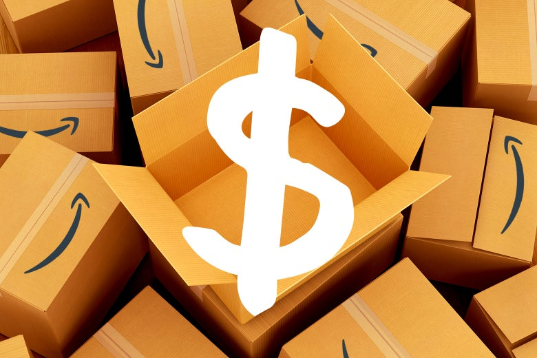 A dollar sign superimposed over a backdrop of Amazon boxes.