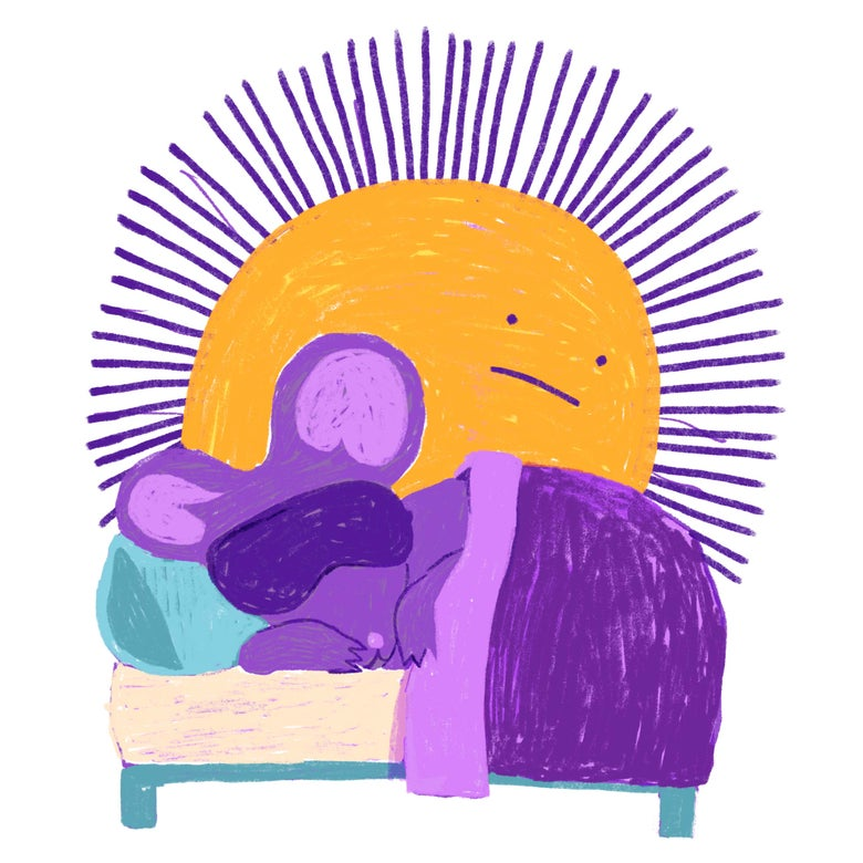 A purple rat sleeps with an eye mask on while the sun rises.