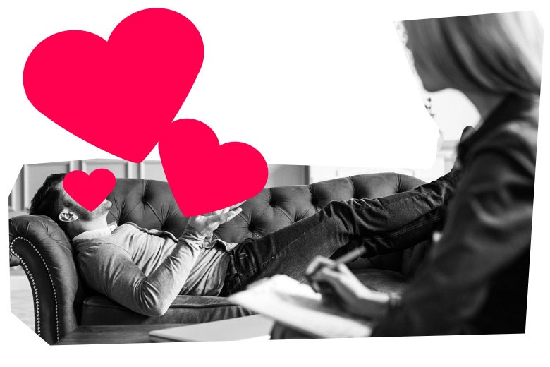A man laying on a couch, and a therapist sitting next to him. The man's face is covered with a graphic of a heart.
