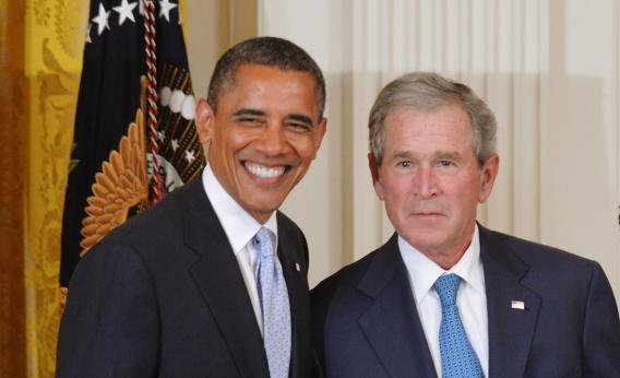 Barack Obama with George W. Bush, May 31, 2012