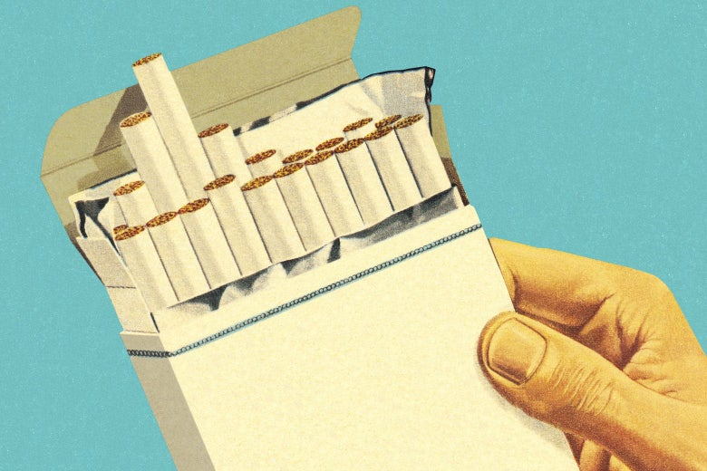 Photo illustration of a carton of cigarettes.