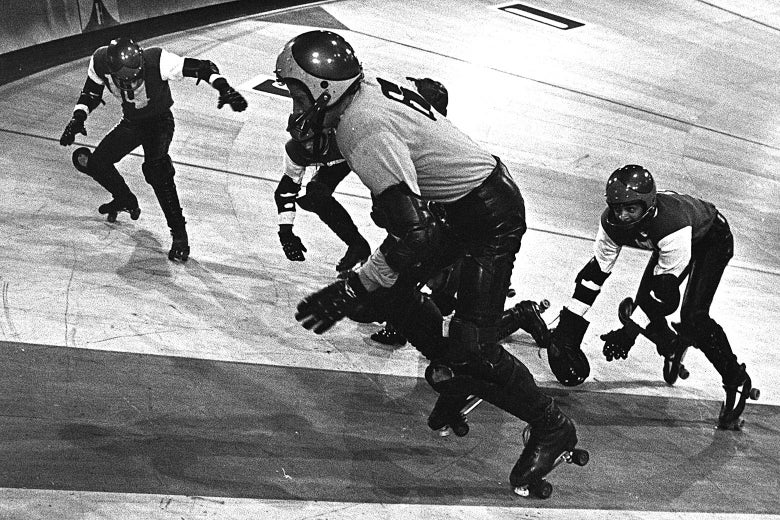 Men chase each other in roller skates.