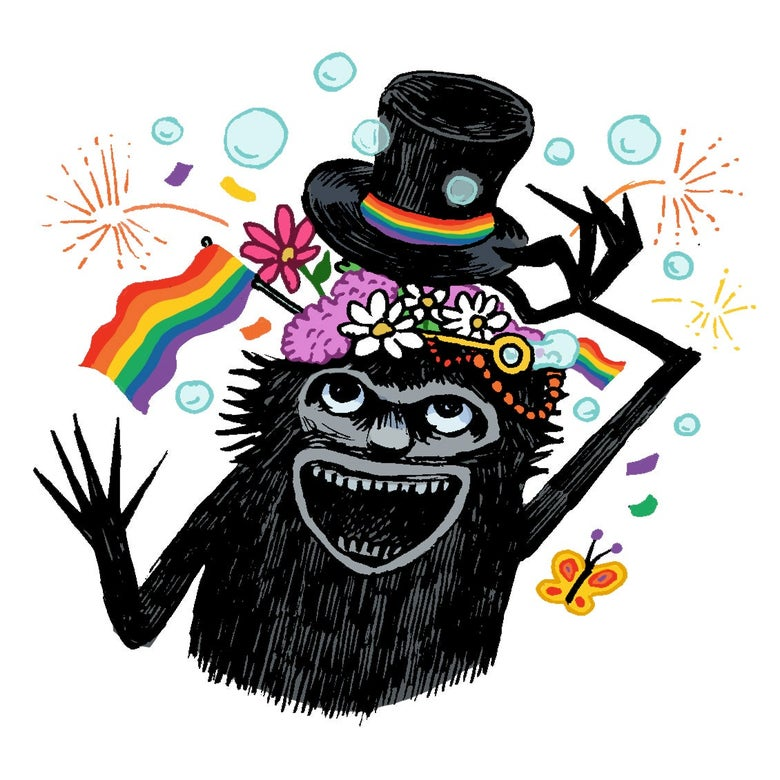 Illustration of the Babadook with rainbows.