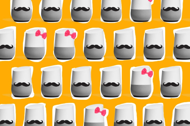 Photo illustration: Google Home devices with alternating mustaches and pink bows.