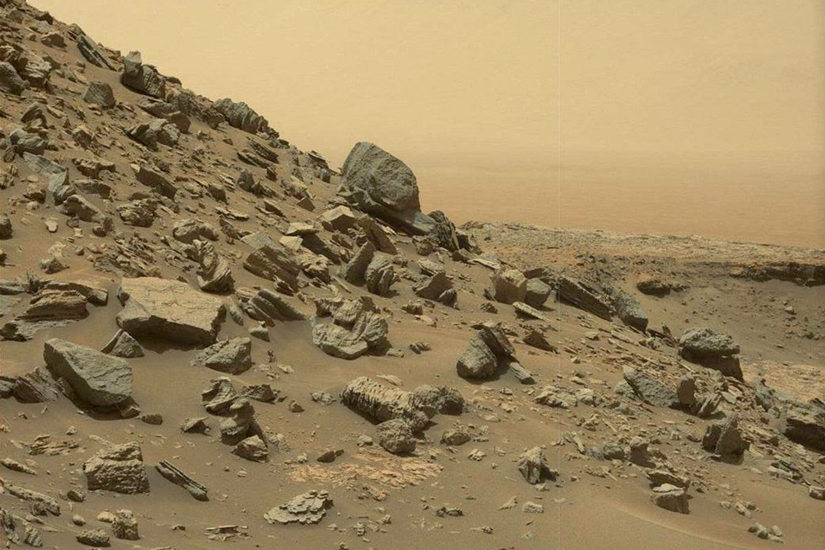 A rocky hill on the surface of Mars.