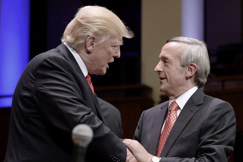 Donald Trump and the Rev. Robert Jeffress in Washington on July 1, 2017.