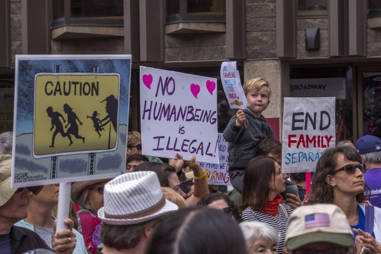 Protesters demand that thousands of children taken from their immigrant parents by border officials under recent controversial Trump administration policies be reunited on June 23, 2018 in San Diego, California.