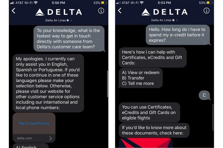 Screenshots of a frustrating conservation with the Delta app chatbot.