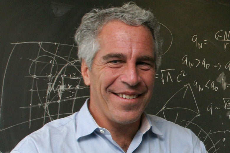 Jeffrey Epstein in front of a chalkboard with mathematical things written on it.