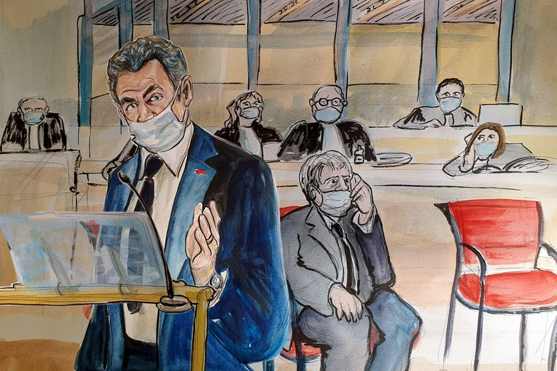 A cartoonish courtroom sketch of a masked Sarkzoy testifying.