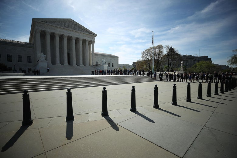 WASHINGTON, DC - APRIL 23: People wait in line to enter the U.S. Supreme Court, on April 23, 2018 in Washington, DC. Today the high court is hearing arguments in Chavez-Mesa v. US, which concerns a technical matter regarding sentencing guidelines. Deputy Attorney General Rod Rosenstein will be representing the government. (Photo by Mark Wilson/Getty Images)