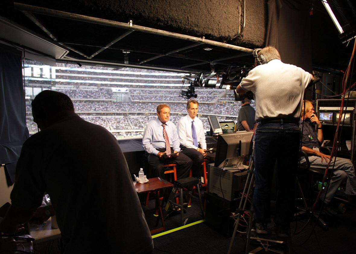 Al Michaels and Cris Collinsworth during Sunday Night Football,