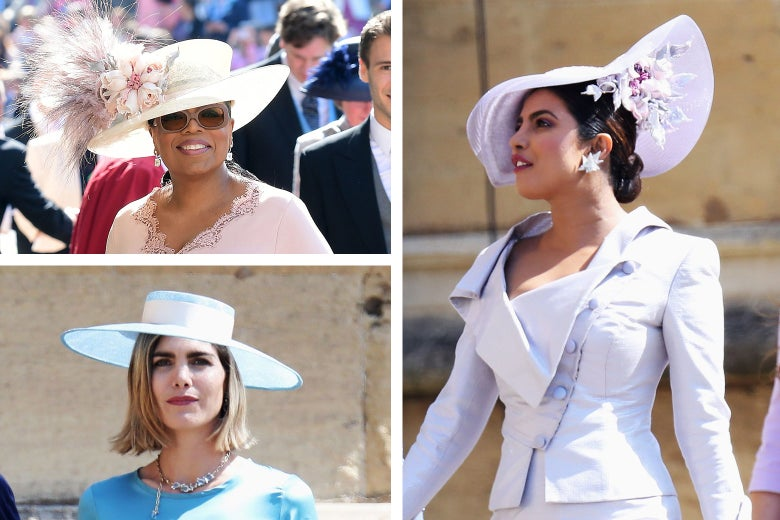 Oprah Winfrey in a wide-brimmed white hat, Delfina Blaquier in a stiff, wide-brimmed hat with blue accents, and Priyanka Chopra in a lavender fascinator with floral accent.