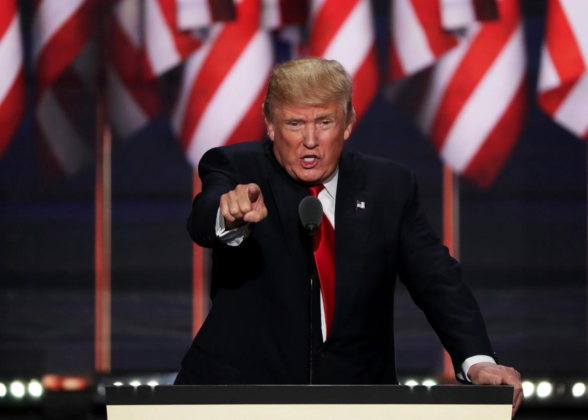 589d8882aaabe3 Donald Trump speaking at the Republican National Convention on Thursday.