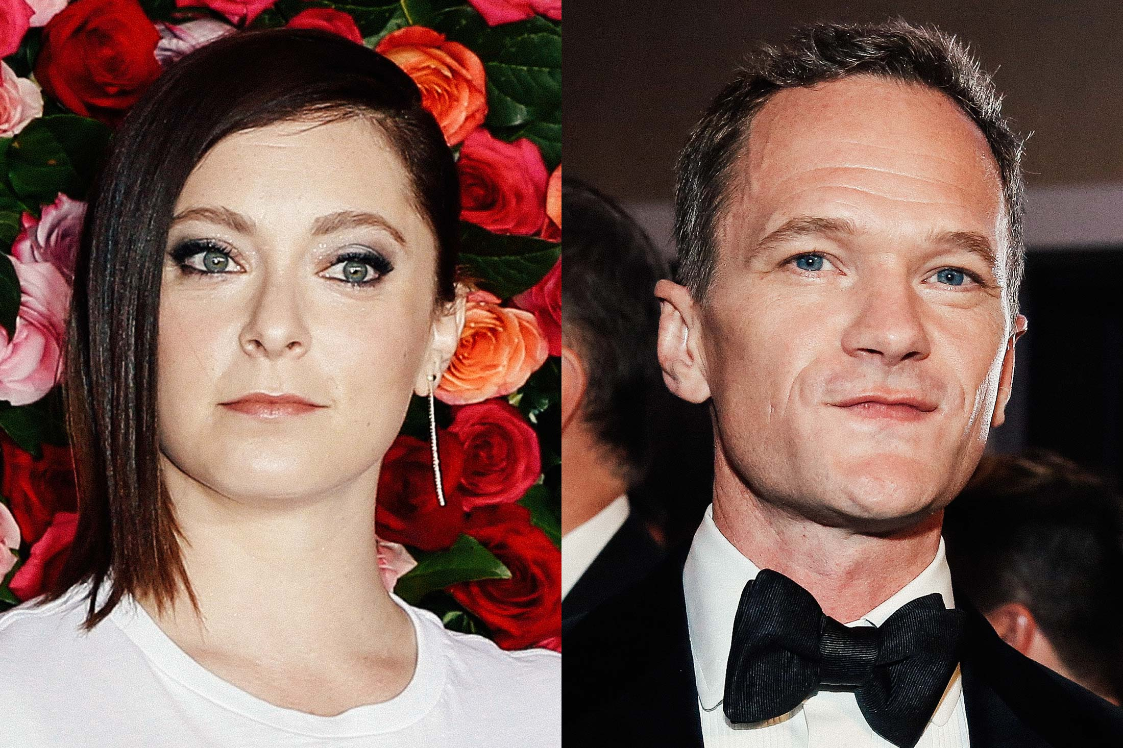 Photos of Rachel Bloom and Neil Patrick Harris, side-by-side