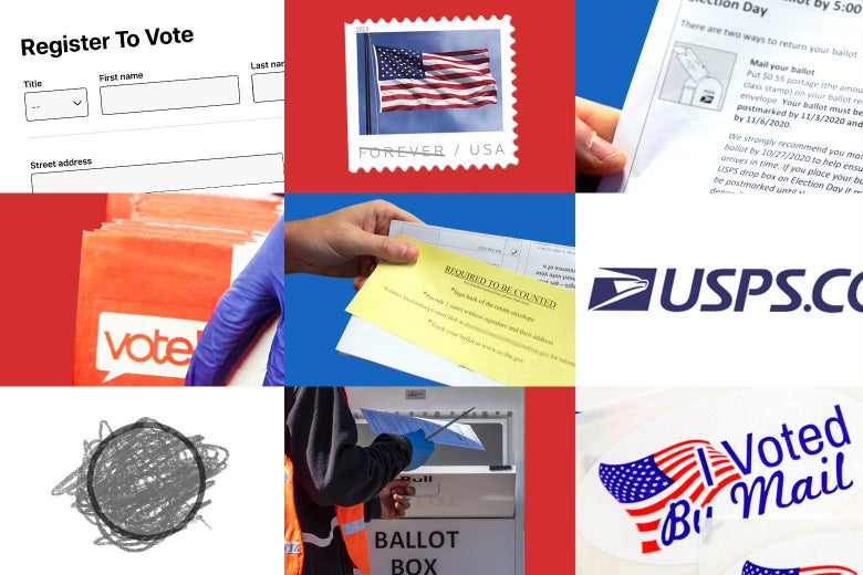 A collage of I Voted stickers, ballots, ballot boxes, stamps, etc.