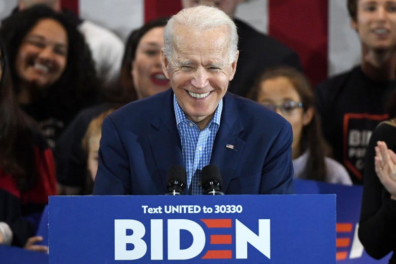 Former Vice President Joe Biden speaks during a Nevada caucus day event at IBEW Local 357 on February 22, 2020 in Las Vegas, Nevada.
