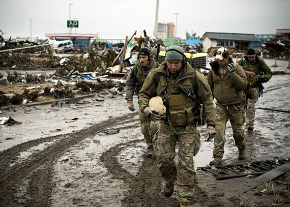Members of the 320th Special Tactics Squadron, Sendai Airport