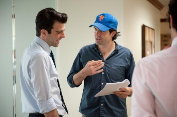 Zachary Quinto and director J.C. Chandor on the set of Margin Call.