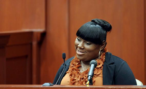 Witness Rachel Jeantel smiles towards the end of her second day testimony during George Zimmerman's murder trial for 2012 shooting death of Trayvon Martin.