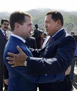 Dmitry Medvedev and Hugo Chavez. Click image to expand.