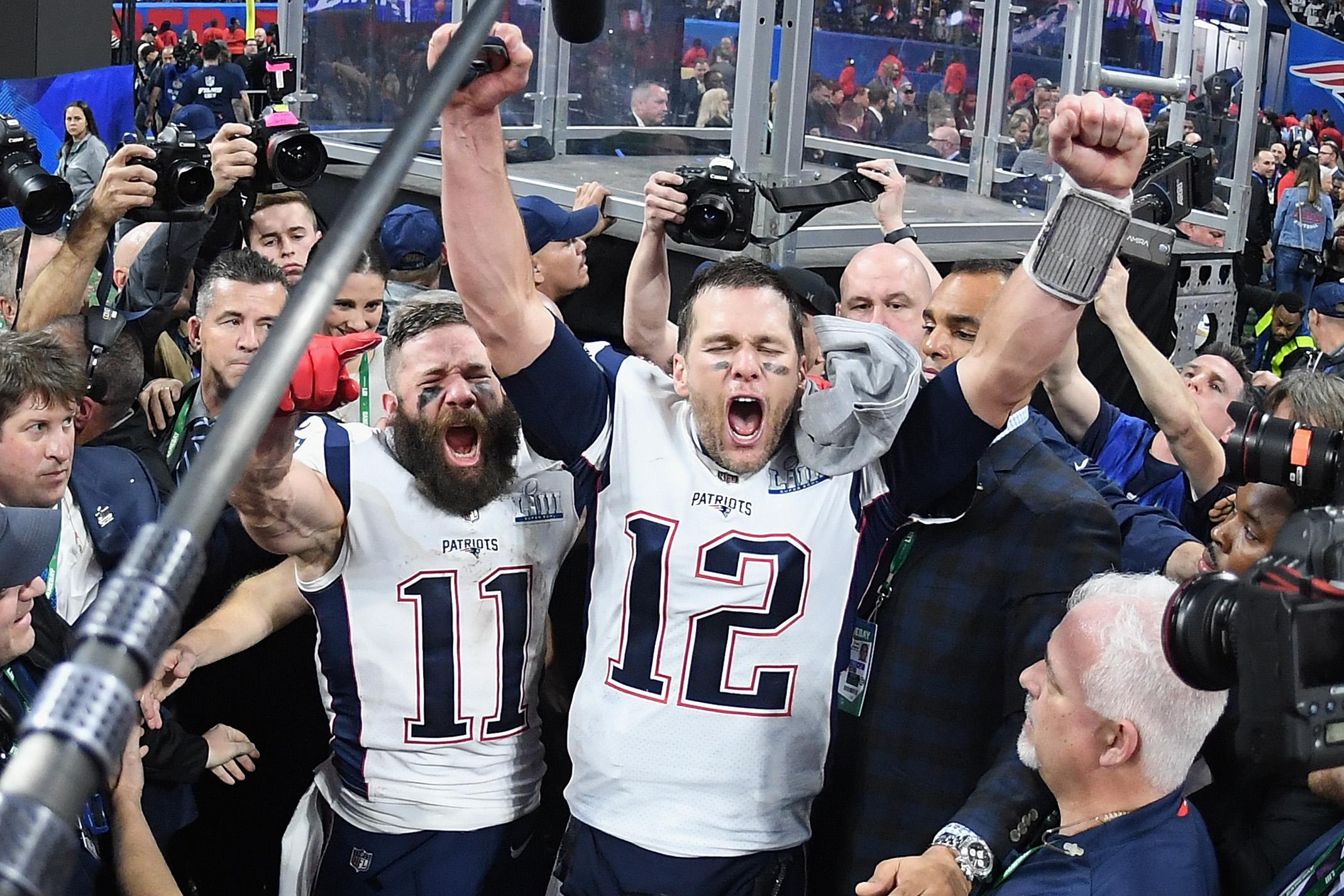 ATLANTA, GA - FEBRUARY 03:  Julian Edelman #11 of the New England Patriots and teammate Tom Brady #12 celebrate at the end of the Super Bowl LIII at Mercedes-Benz Stadium on February 3, 2019 in Atlanta, Georgia. The New England Patriots defeat the Los Angeles Rams 13-3.  (Photo by Harry How/Getty Images)