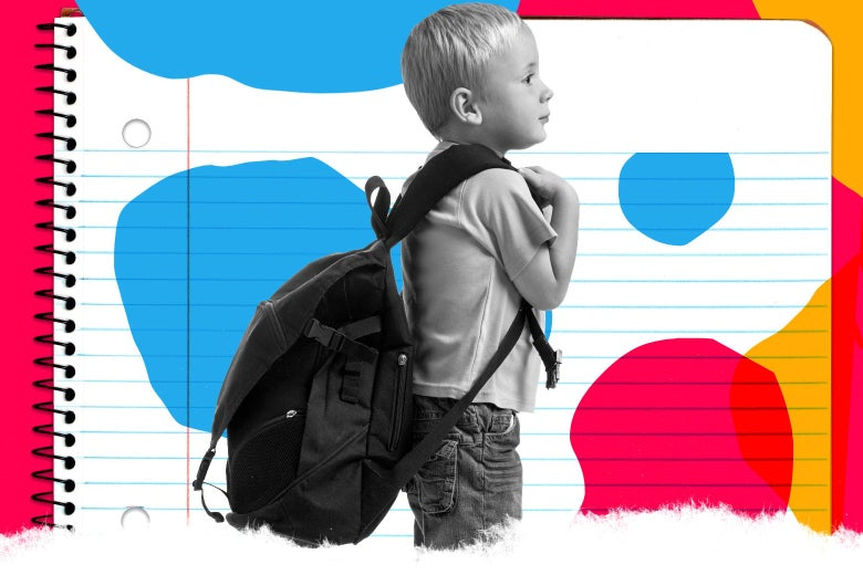 A kindergarten-aged boy wears his backpack and is ready for school.