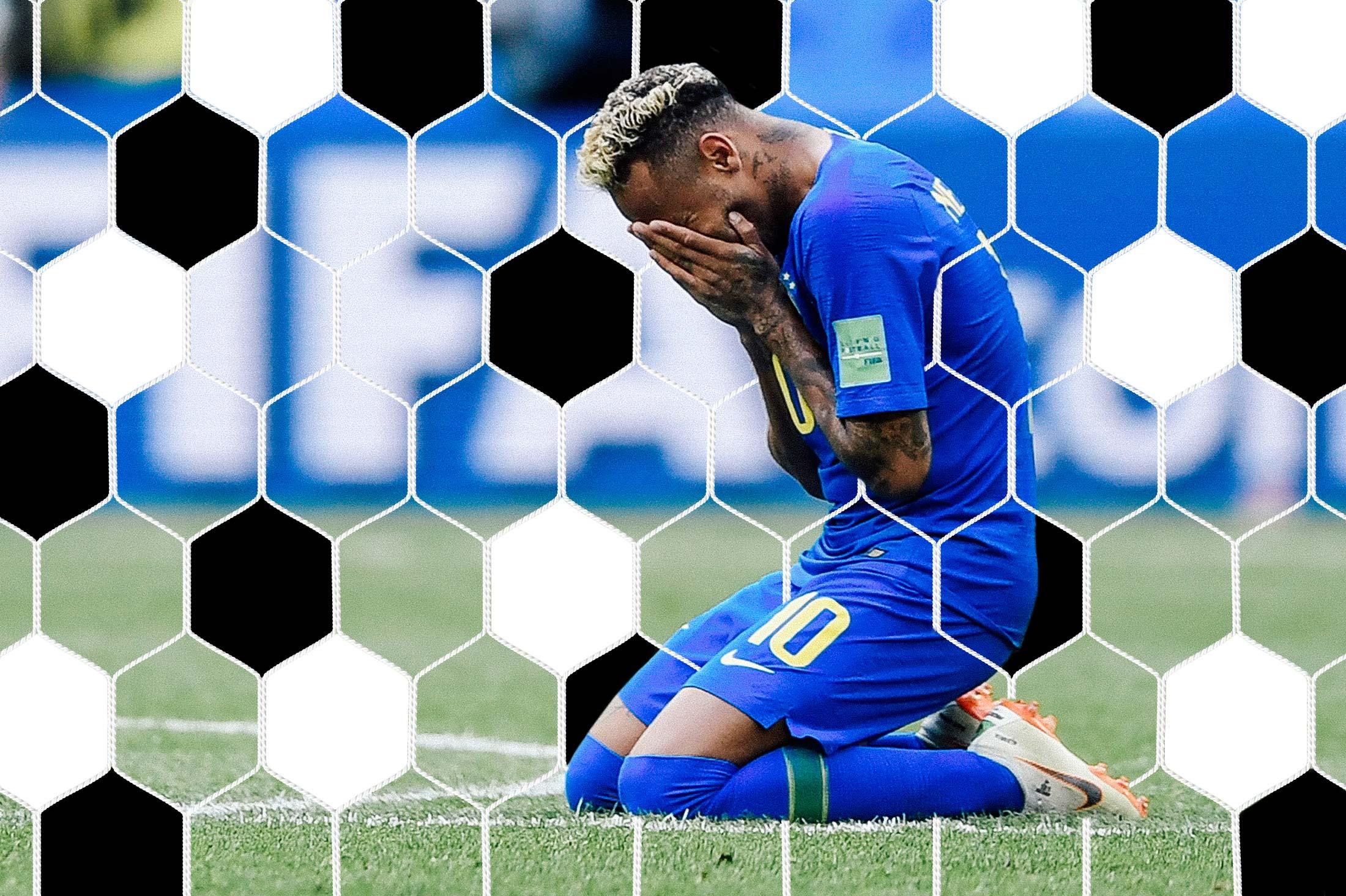 Brazil's forward Neymar cries after scoring a goal.