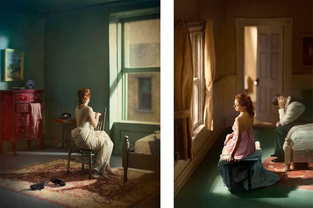 Left: Green Bedroom (Morning) Right: Pink Bedroom (Window Seat)