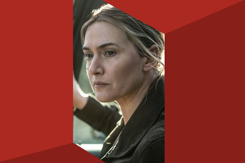 Kate Winslet is seen through a red room.