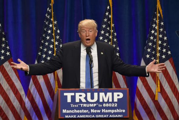 Presumptive Republican presidential nominee Donald Trump speaks at the St. Anselm College New Hampshire Institute of Politics on Monday.
