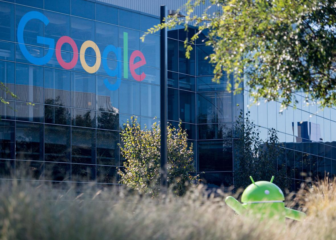 A Google logo and Android statue are seen at the Googleplex in Menlo Park, California on November 4, 2016.