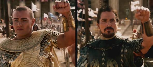 Joel Edgertonand Christian Bale in Exodus: Gods and Kings.
