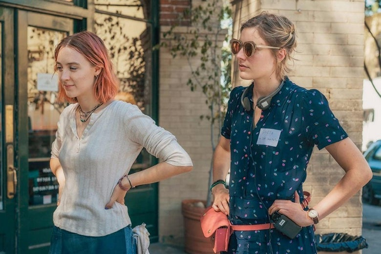 Saorise Ronan and Greta Gerwig on the set of Lady Bird.