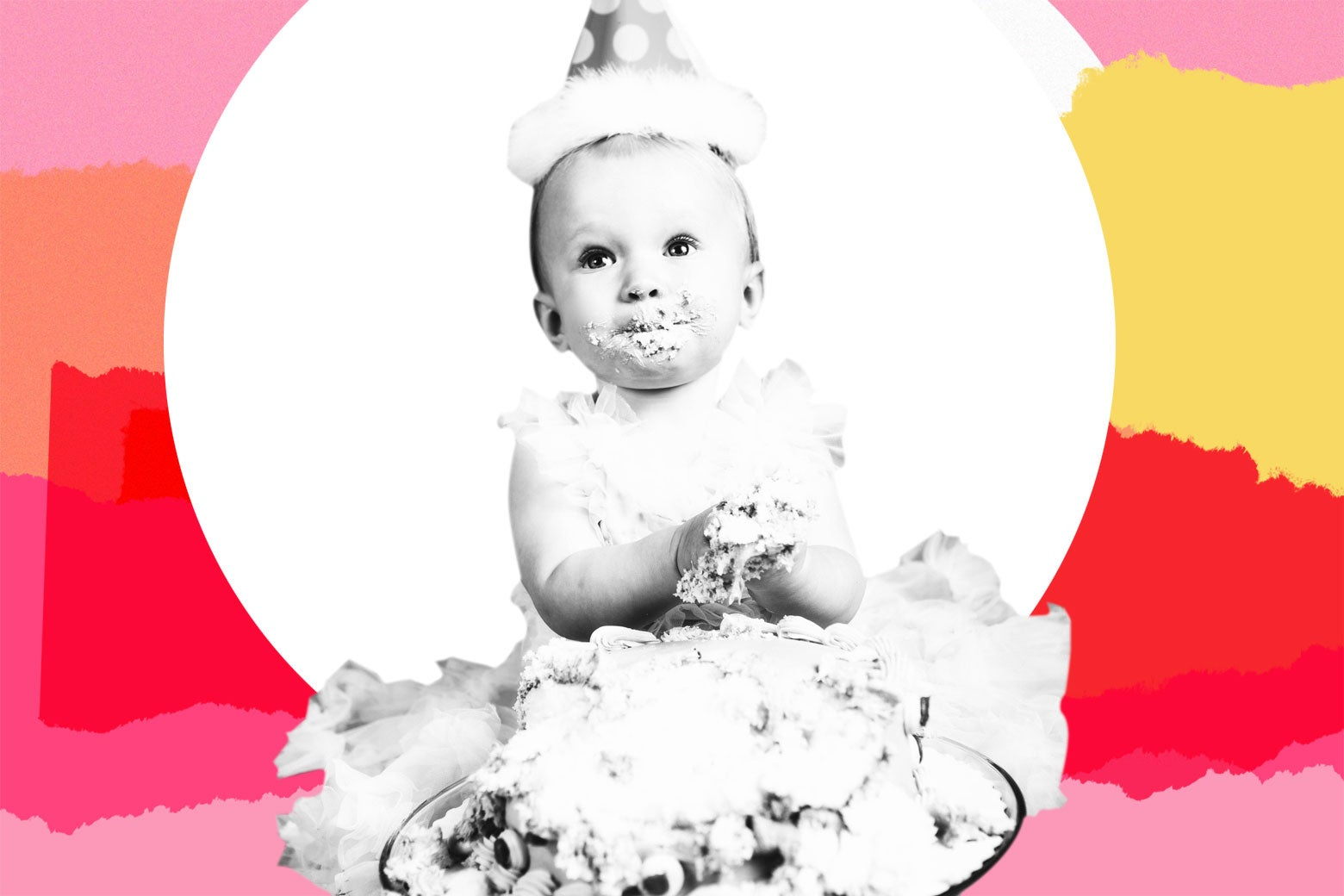 Infant eating cake