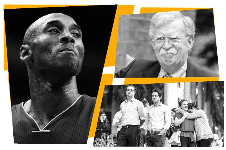 Collage of photos of Kobe Bryant, John Bolton, and people standing outside a building, two of them hugging.