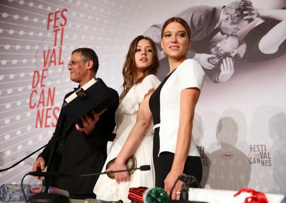 Director Abdellatif Kechiche and actresses Léa Seydoux and Adèle Exarchopoulos at the Cannes Film Festival in May 2013.