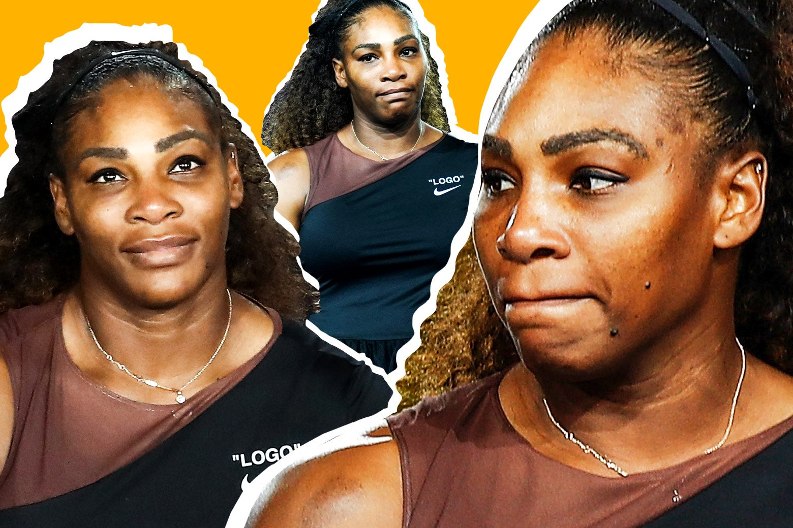 Serena Williams looking frustrated.