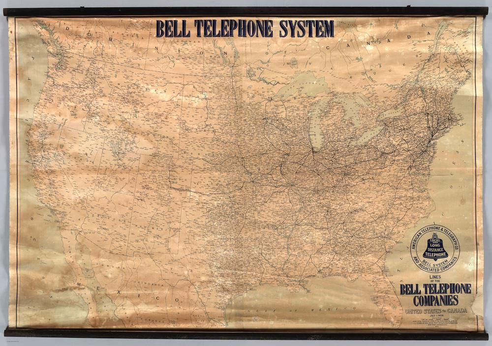 History of the American telephone system: Map of Bell