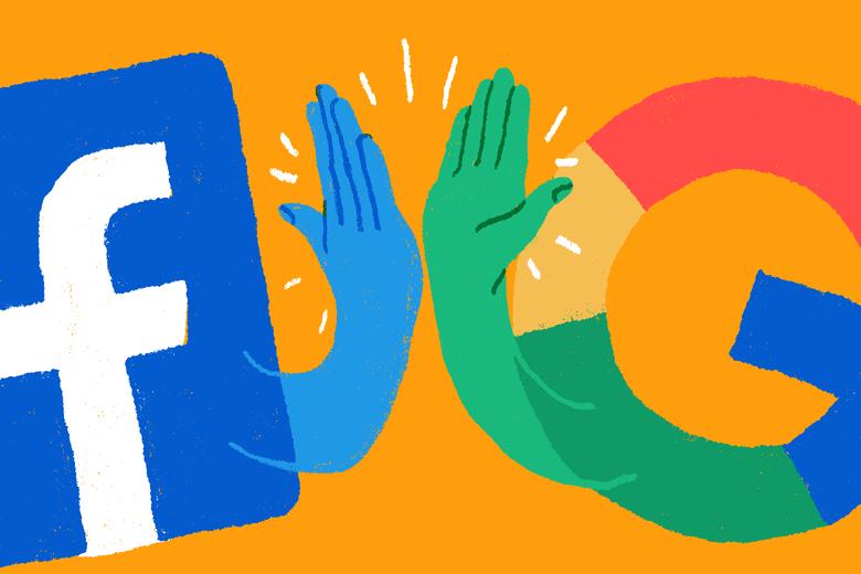 Facebook logo hi fiving Google logo.