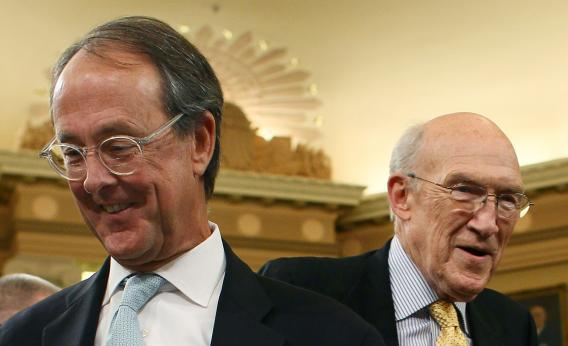 Sen. Alan Simpson, (R-WY)(R), and Erskine Bowles.