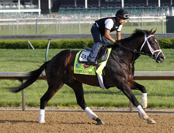 Kentucky Derby hopeful Verrazano gallops on the track with exercise rider Humberto Zamora during early morning workouts at Churchill Downs in Louisville, Kentucky, May 1, 2013.