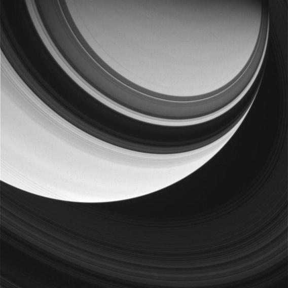 Saturn and its rings, by Cassini