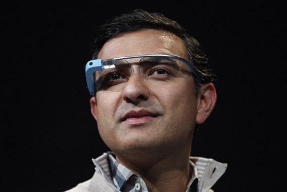 Vic Gundotra wears a Google Glass.