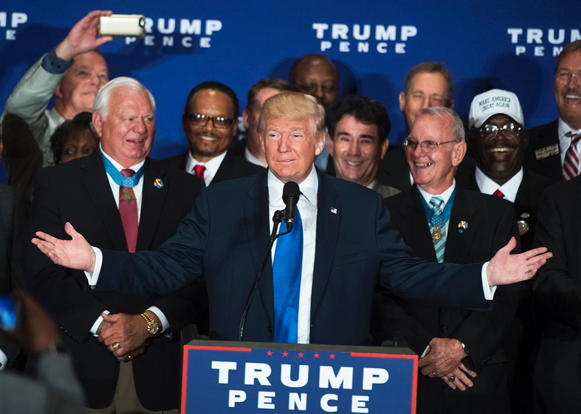 Republican presidential candidate Donald Trump attends a campaign event with veterans at the Trump International Hotel on Pennsylvania Ave. September 16, 2016.